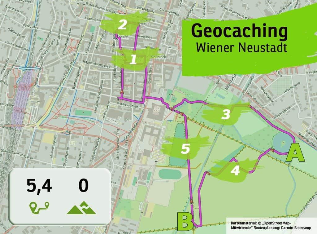 Wiener Neustadt geocaching teamevent teambuilding betriebsausflug uebersichtskarte