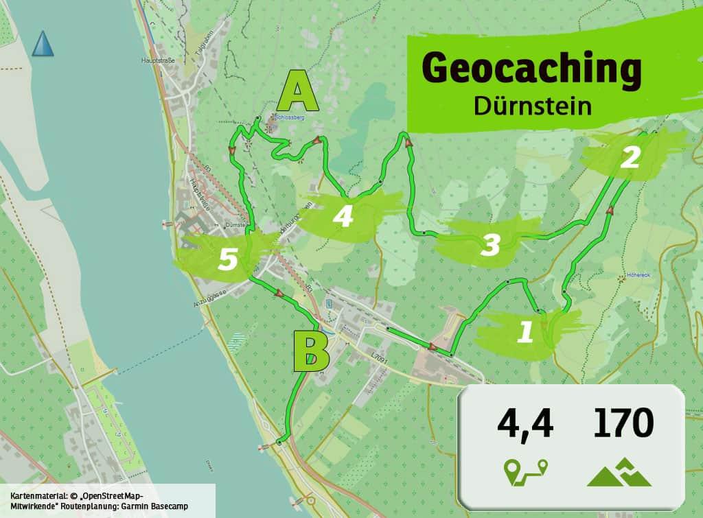 niederoesterreich wachau duernstein teamevent teambuilding betriebsausflug geocaching karte uebersicht