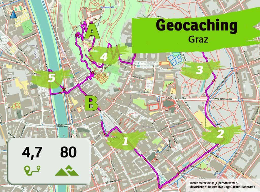 graz uhrturm teamevent teambuilding betriebsausflug geocaching karte uebersicht