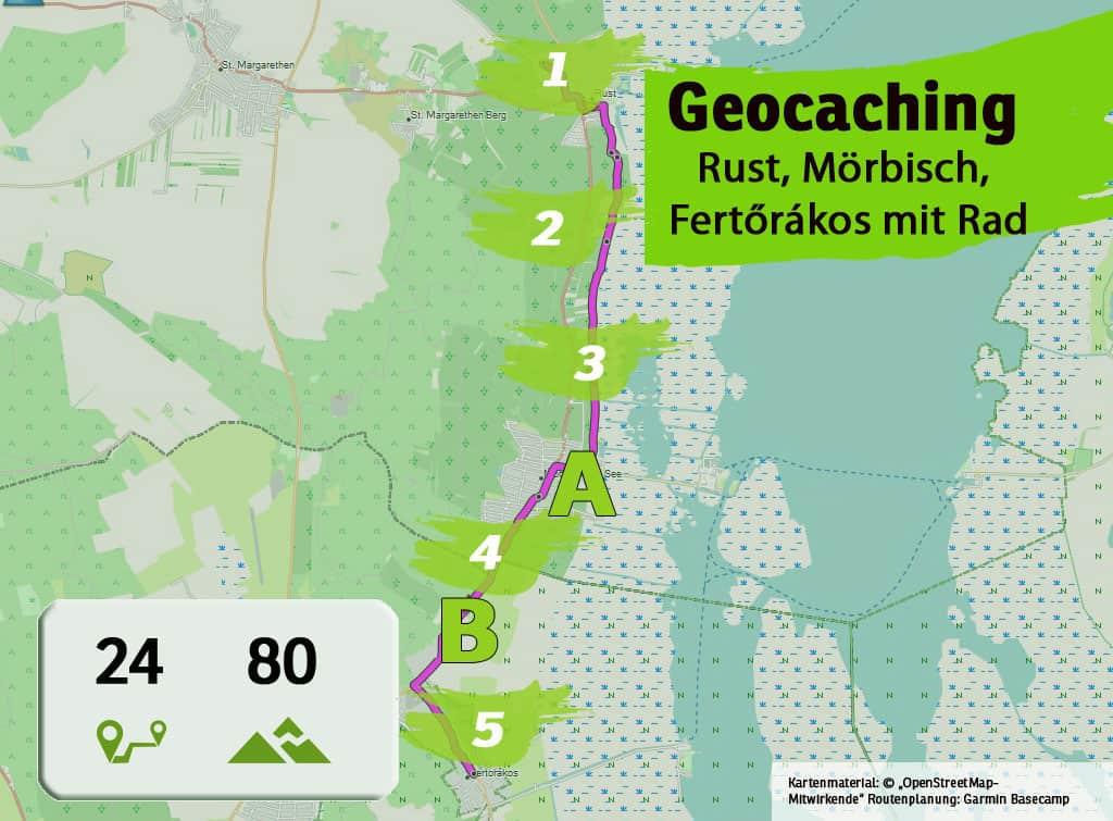 rust moerbisch fertorakos neusiedlersee fahrrad teamevent teambuilding betriebsausflug geocaching karte