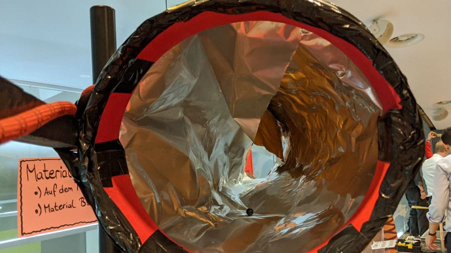 kugelbahn bauen tunnel material kettenreaktion accenture teaminprogress