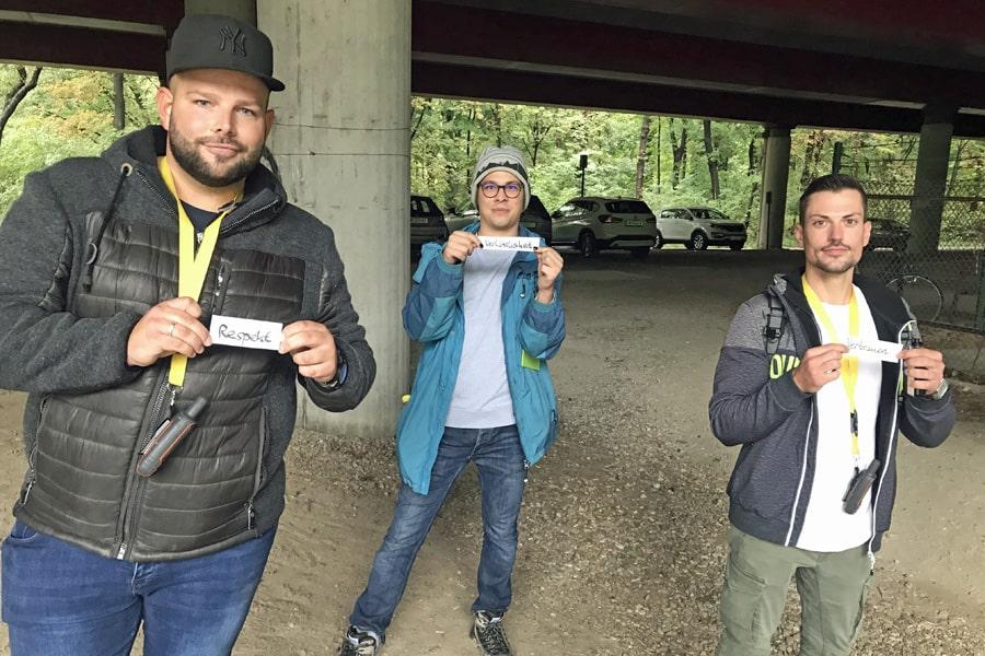 wiener wohnen geocaching teambuilding outdoor grüner prater reflexion rollen mgs abstand